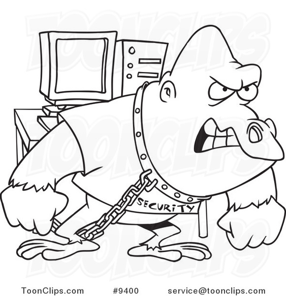 581x600 Cartoon Black And White Line Drawing Of A Computer Security