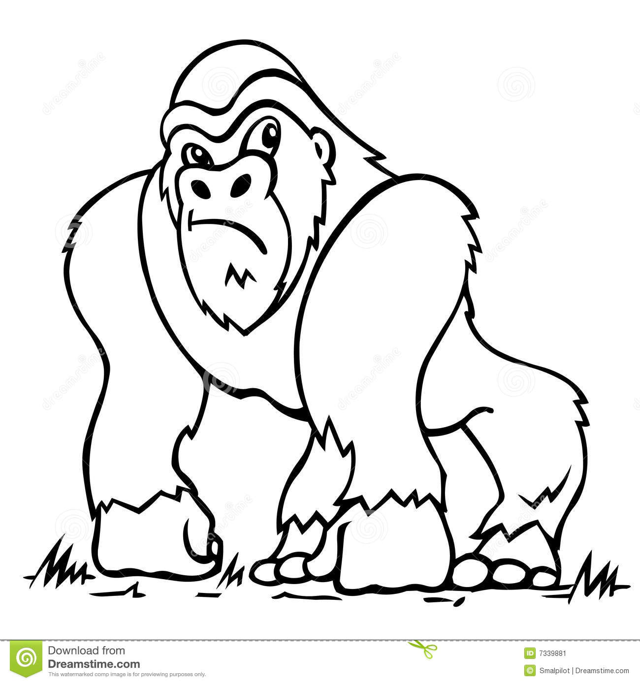 1300x1390 Animals Gorilla Printable Coloring Pages For Preschool