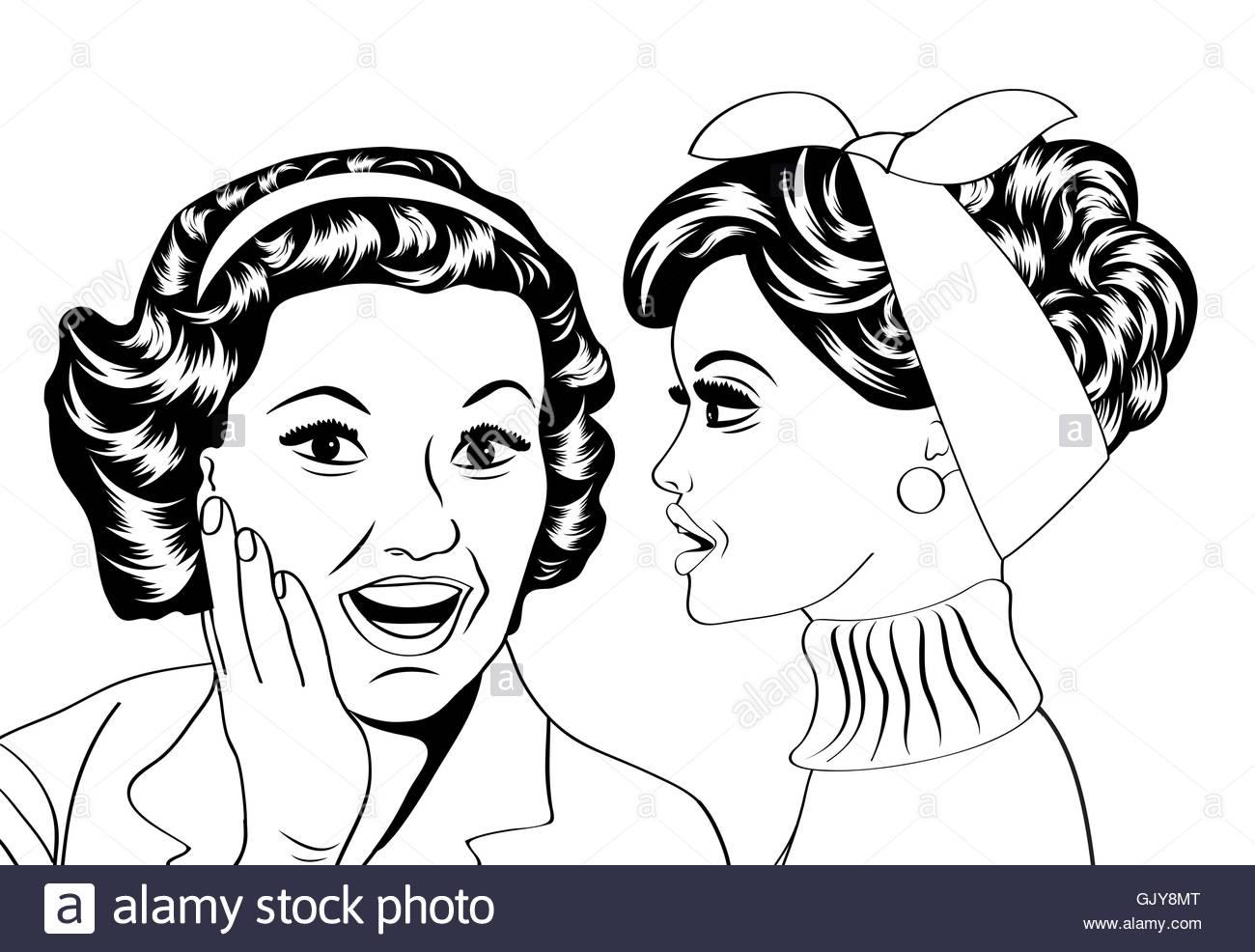 1300x986 Pop Art Retro Women In Comics Style That Gossip Stock Vector Art