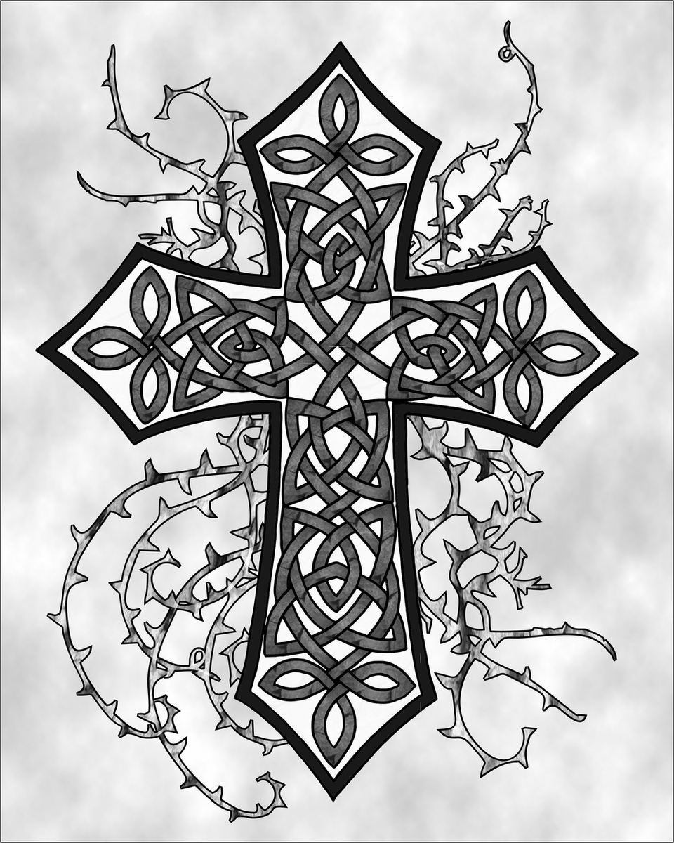 960x1200 Gray Gothic Celtic Cross Art Print From Ravensdaughter Designs