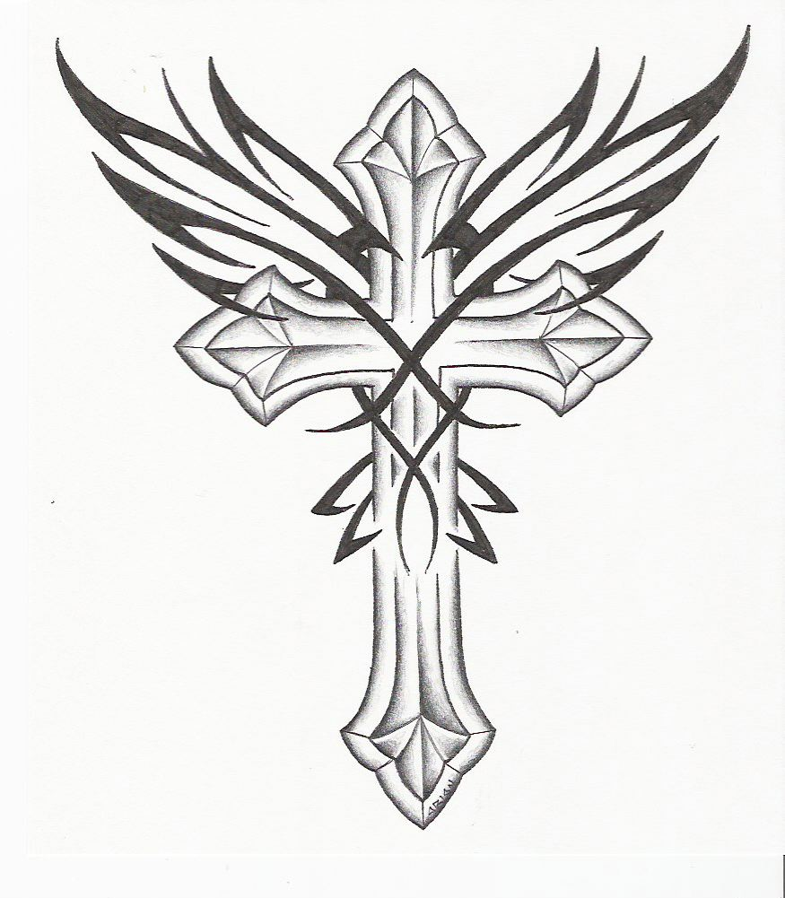 875x1001 Pin gothic cross tattoo drawing and wings picture to