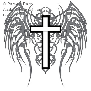 300x300 Art Illustration Of A Gothic Cross With Wings
