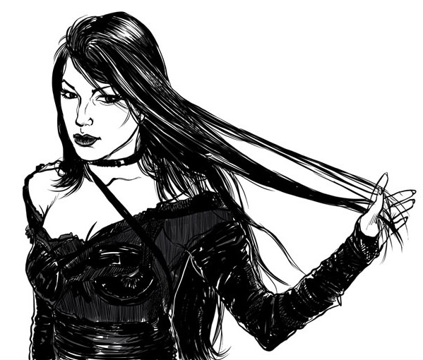 599x510 Woman In Black Gothic Style By Southercomfort