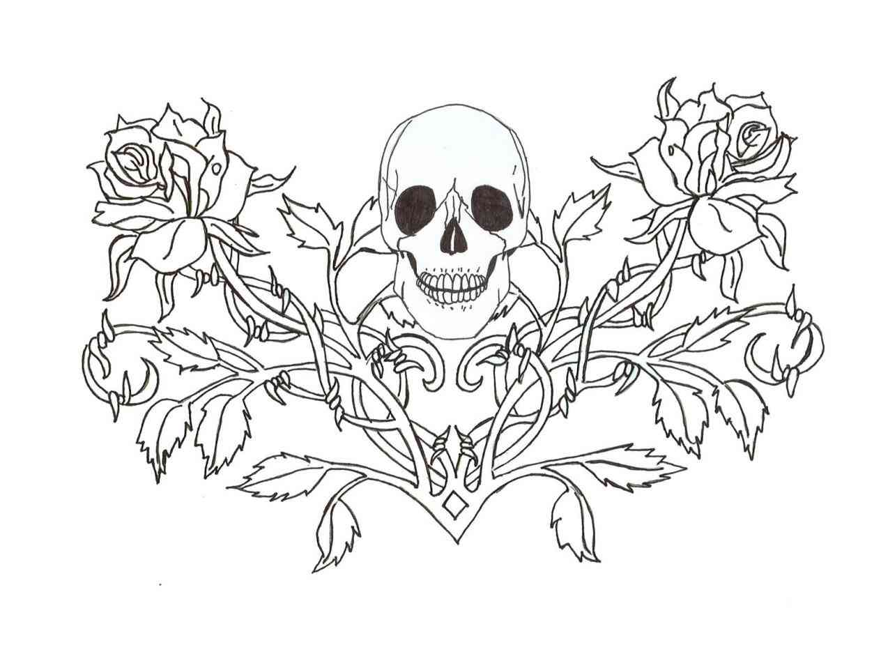 1264x948 Rose With Banner Outline Rose Outline Drawing Google Search