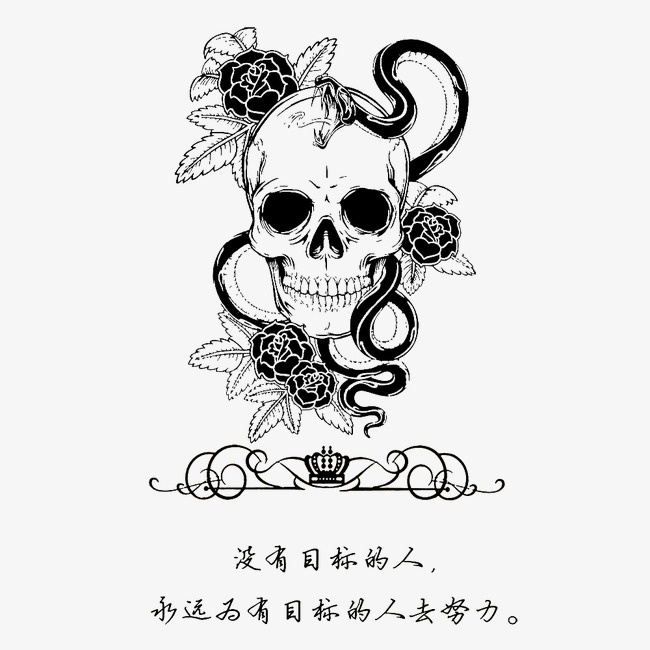 650x650 Skull, Rose, Gothic Style Png Image For Free Download