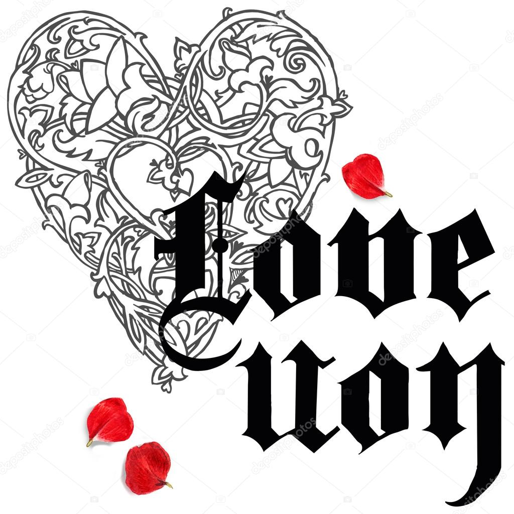 1024x1024 Valentines Day Card. Love You Greeting Card. Valentine Day Hand