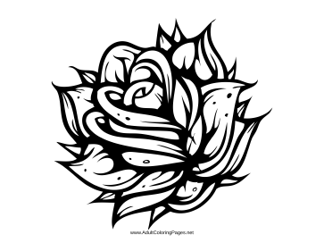 363x281 A Gothic Rose Makes This Adult Coloring Page Great For Those Who