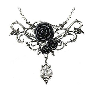395x395 Bacchanal Black Rose Necklace By Alchemy Gothic Jewelry