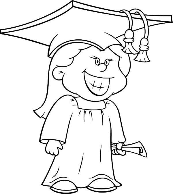 600x675 Girl Graduation Silhouette Coloring Page Hello Kitty