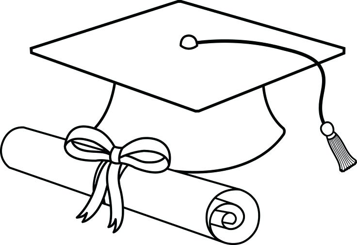 736x505 Graduation Cap And Diploma Coloring Pages