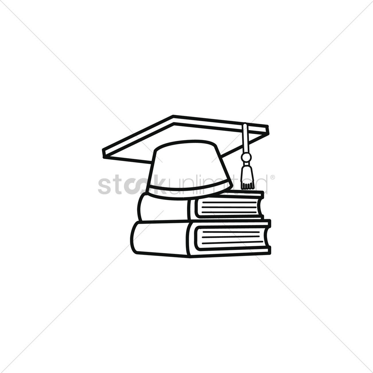 1300x1300 Graduation Cap On Books Vector Image