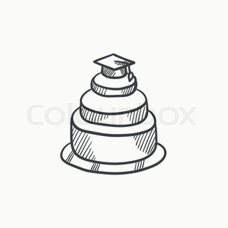 320x320 Graduation Cap On The Top Of A Cake Sketch Icon For Web, Mobile