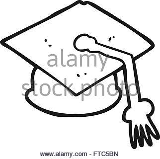 322x320 Freehand Drawn Cartoon Graduation Cap On Question Mark Stock