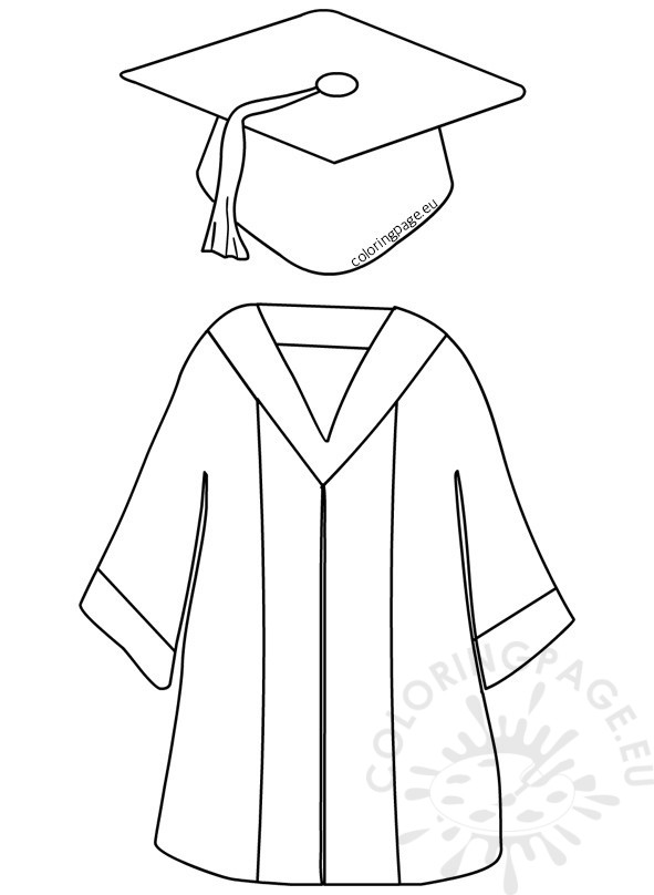 591x808 Cap And Gown Drawing Preschool Graduation Cap And Gown Coloring