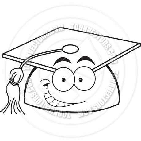 460x460 Cartoon Smiling Graduation Cap (Black And White Line Art) By