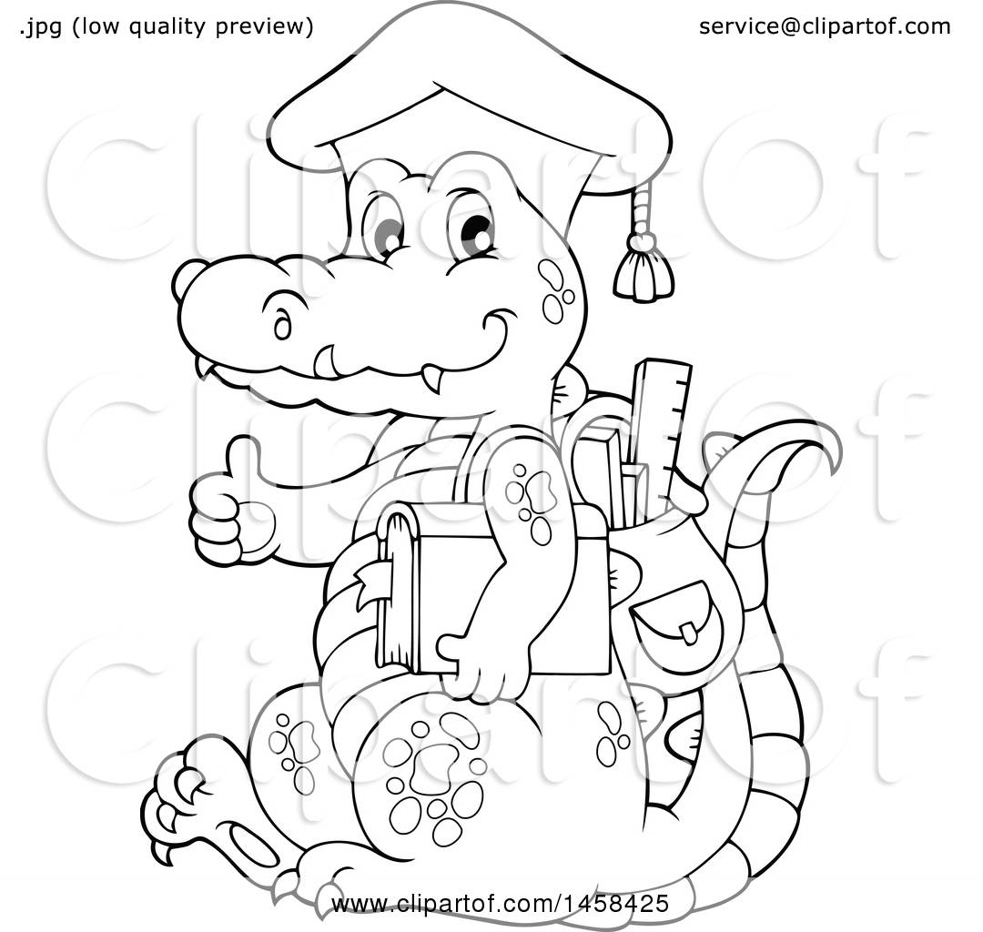 1080x1024 Clipart Of Blacknd White Crocodile Student Wearing