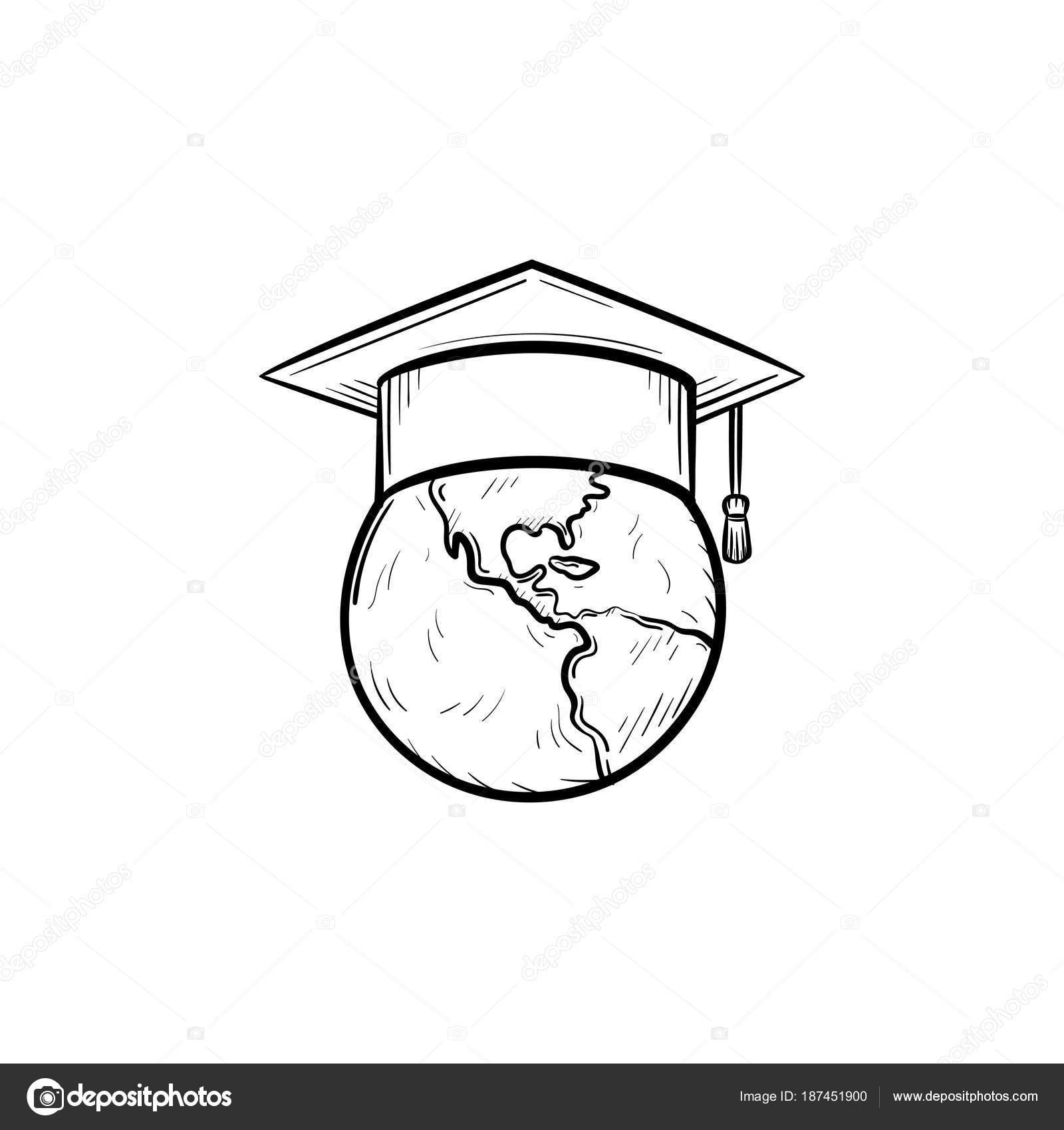 1600x1700 Globe In Graduation Cap Hand Drawn Sketch Icon. Stock Vector