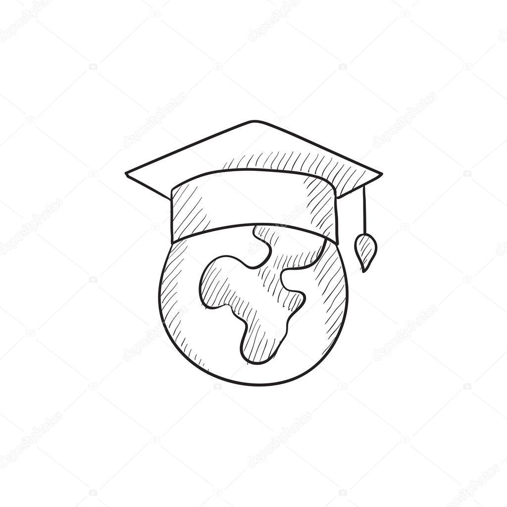 1024x1024 Globe In Graduation Cap Sketch Icon. Stock Vector Rastudio