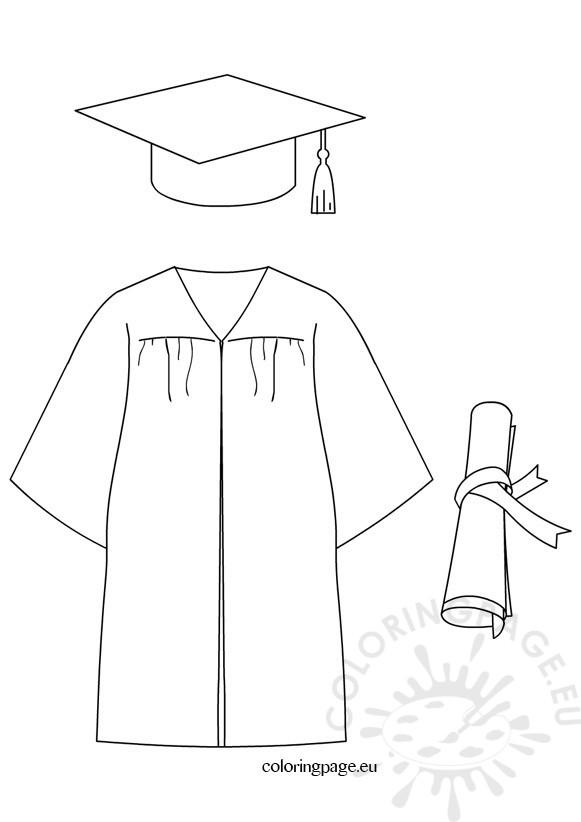 581x822 Graduation Cap Diploma Gown Dress Coloring Page