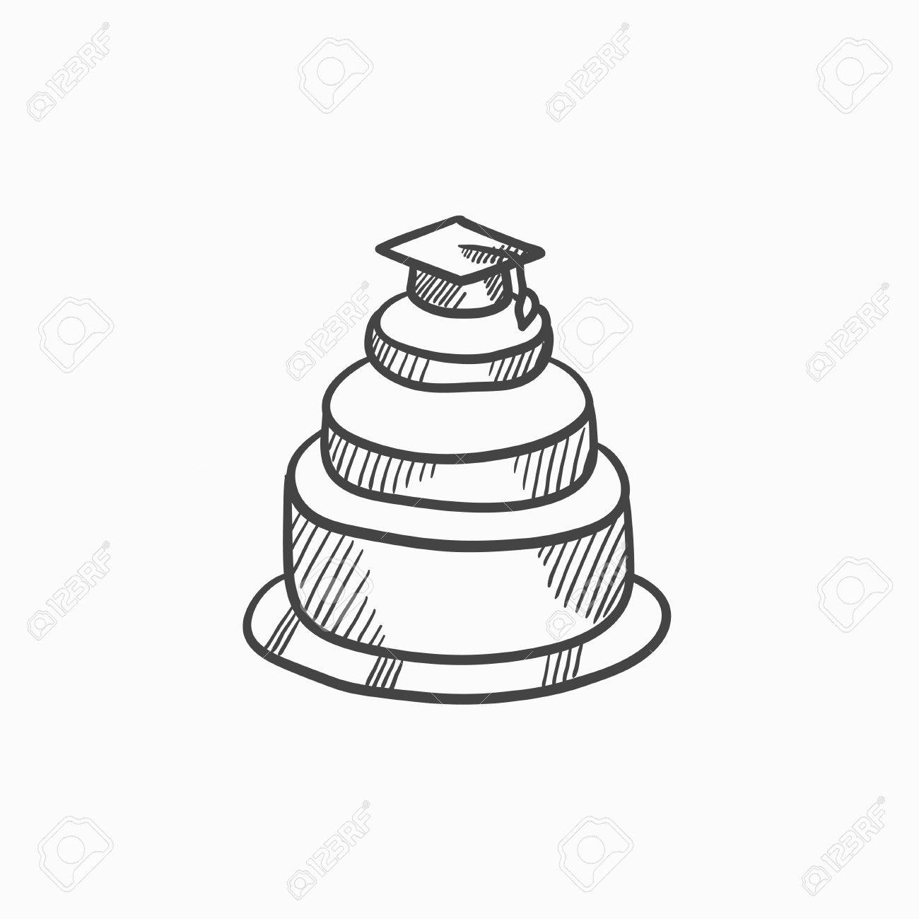 1300x1300 Graduation Cap Top Of Cake Vector Sketch Icon Isolated