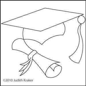300x300 Graduation Cap And Scroll Block Digital Quilting Designs