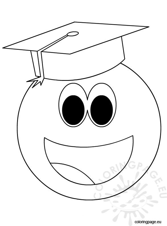 587x794 Smiley Face With Graduation Cap Coloring Page