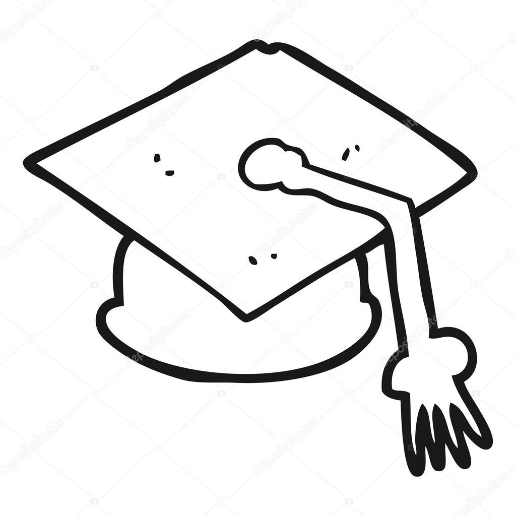 1024x1024 Black And White Cartoon Graduation Cap Stock Vector