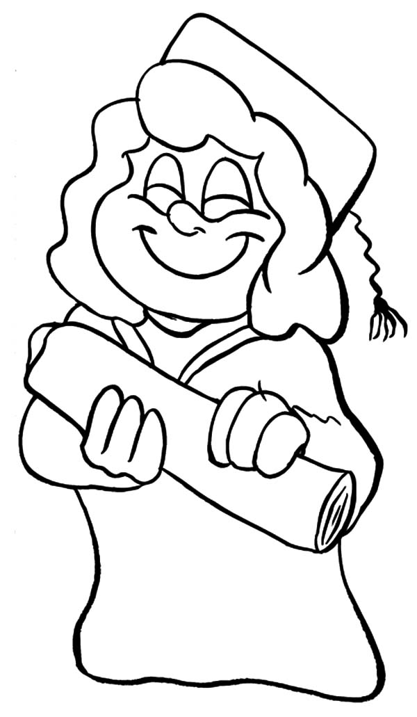 Graduation diploma drawing at free for for Graduation coloring pages to print