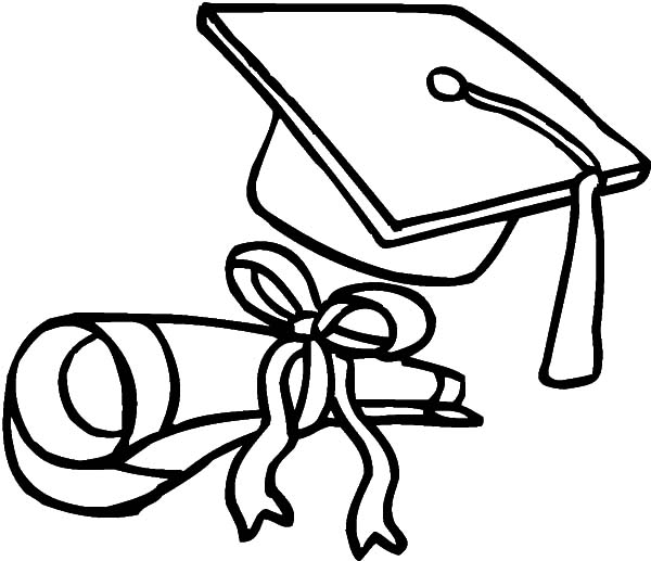 graduation cap and diploma coloring pages - graduation diploma drawing at free for
