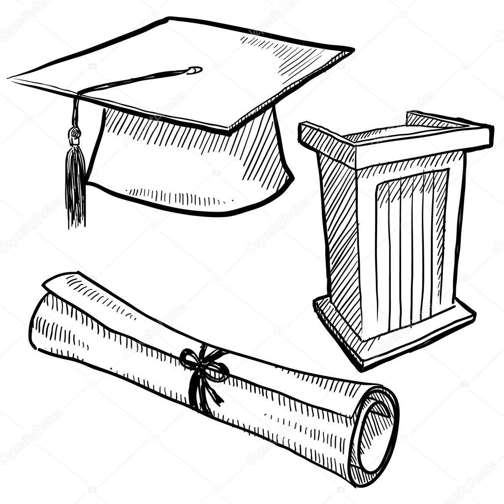 1024x1024 Graduation Items Sketch Stock Vector Lhfgraphics