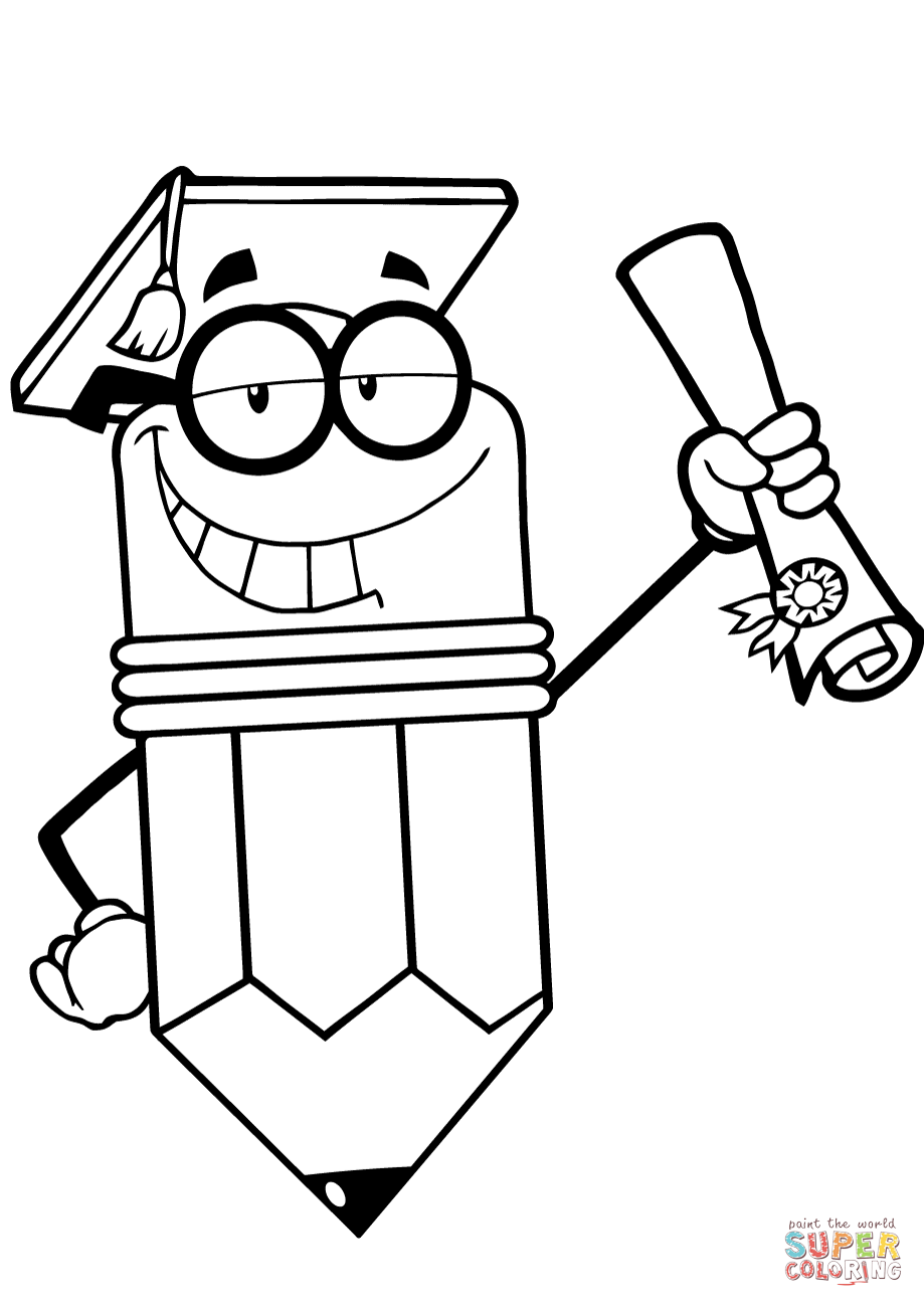 919x1300 Happy Pencil Character Graduate With Diploma Coloring Page Free