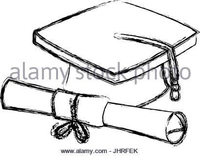 410x320 Graduation Cap And Diploma Rolled Finish Education Symbol Stock