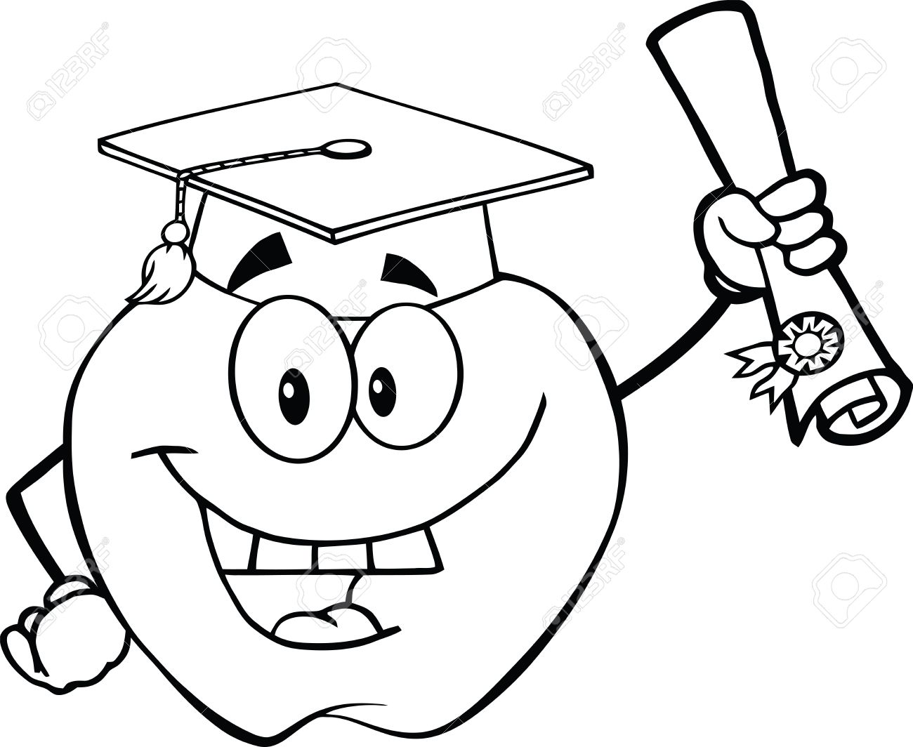 1300x1064 Black And White Happy Apple Character Graduate Holding A Diploma