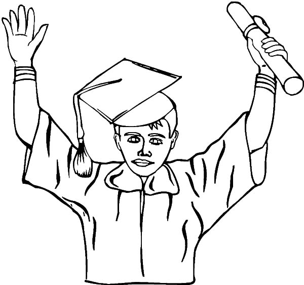 600x563 Drawing Graduation Cap Coloring Pages