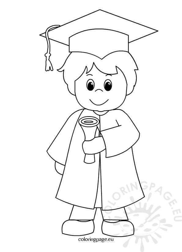 595x822 Child Graduation Gown Coloring Page