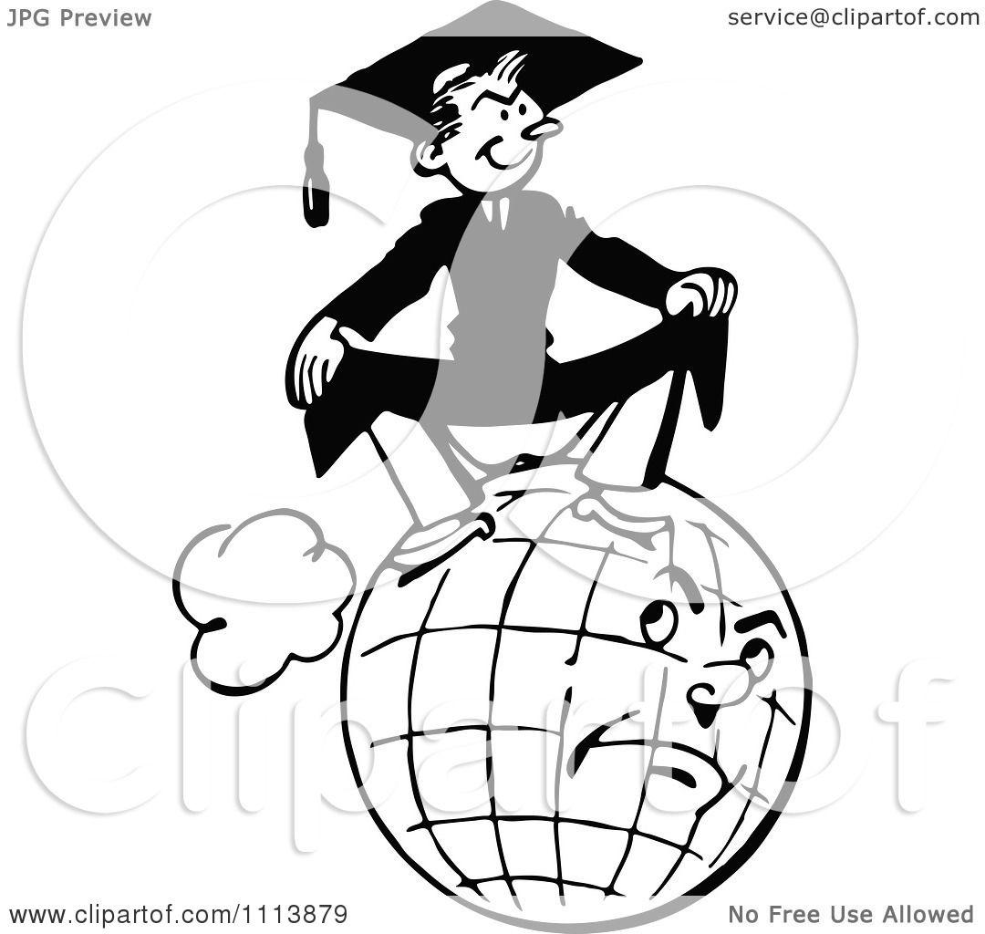 1080x1024 Clipart Vintage Black And White Graduate Sitting On A Grumpy Globe