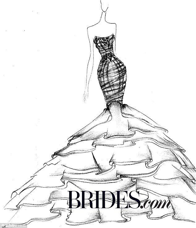 634x738 Drawn Wedding Dress Figure Drawing