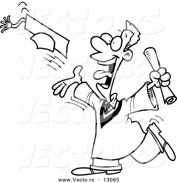 600x620 Vector Of A Happy Cartoon Guy Tossing Graduation Cap Into The Air