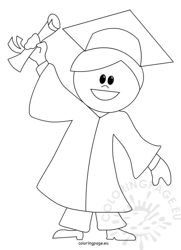 595x822 Child Graduation Cartoon Coloring Page