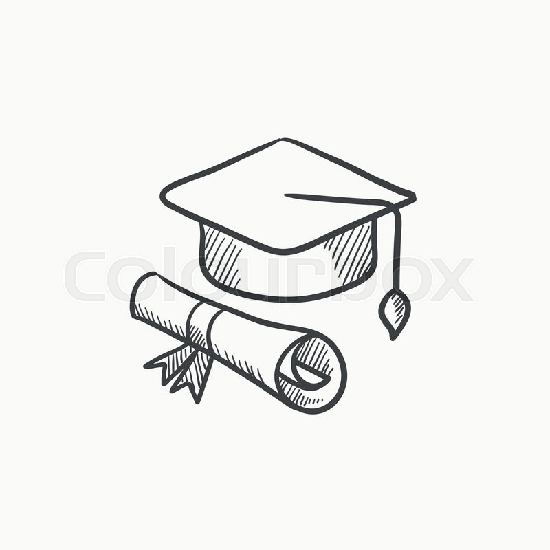 800x800 Graduation Cap And Paper Scroll Vector Sketch Icon Isolated