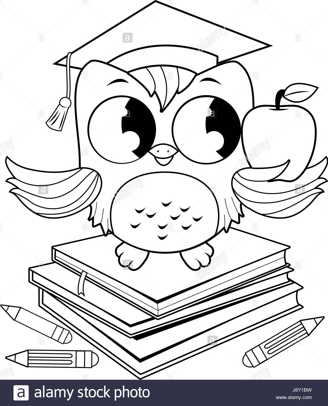 1121x1390 Owl On Books With Graduation Hat Coloring Book Page Stock Vector