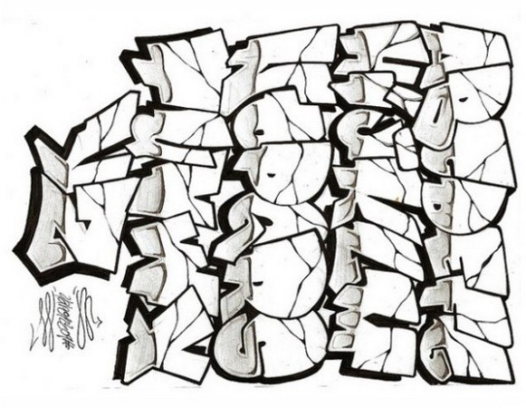 581x450 Sketch Graffiti Alphabet Letters On Paper