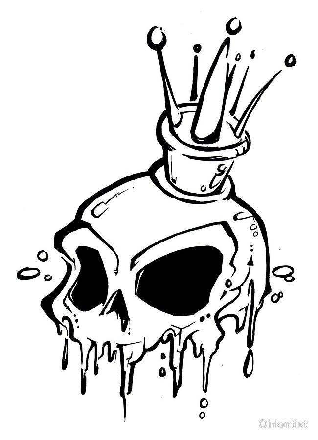 650x900 Graffiti Crowned Dripping King Skull Art Boards By Oinkartist