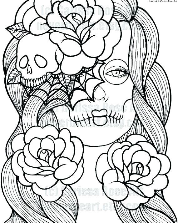 570x713 Free Printable Sugar Skull Coloring Pages Sugar Skull Coloring