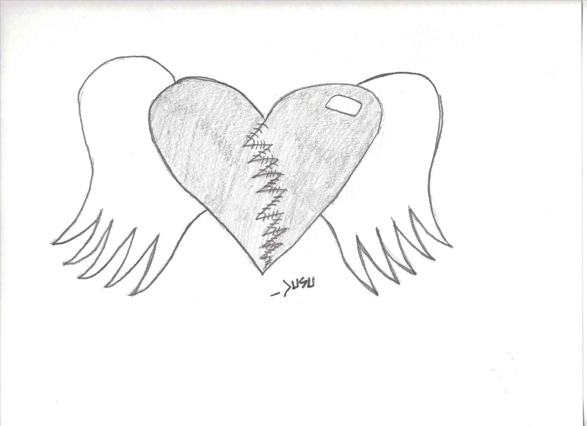 1900x1380 Graffiti Heart And Wing Version Of Heart W Wings Drawing