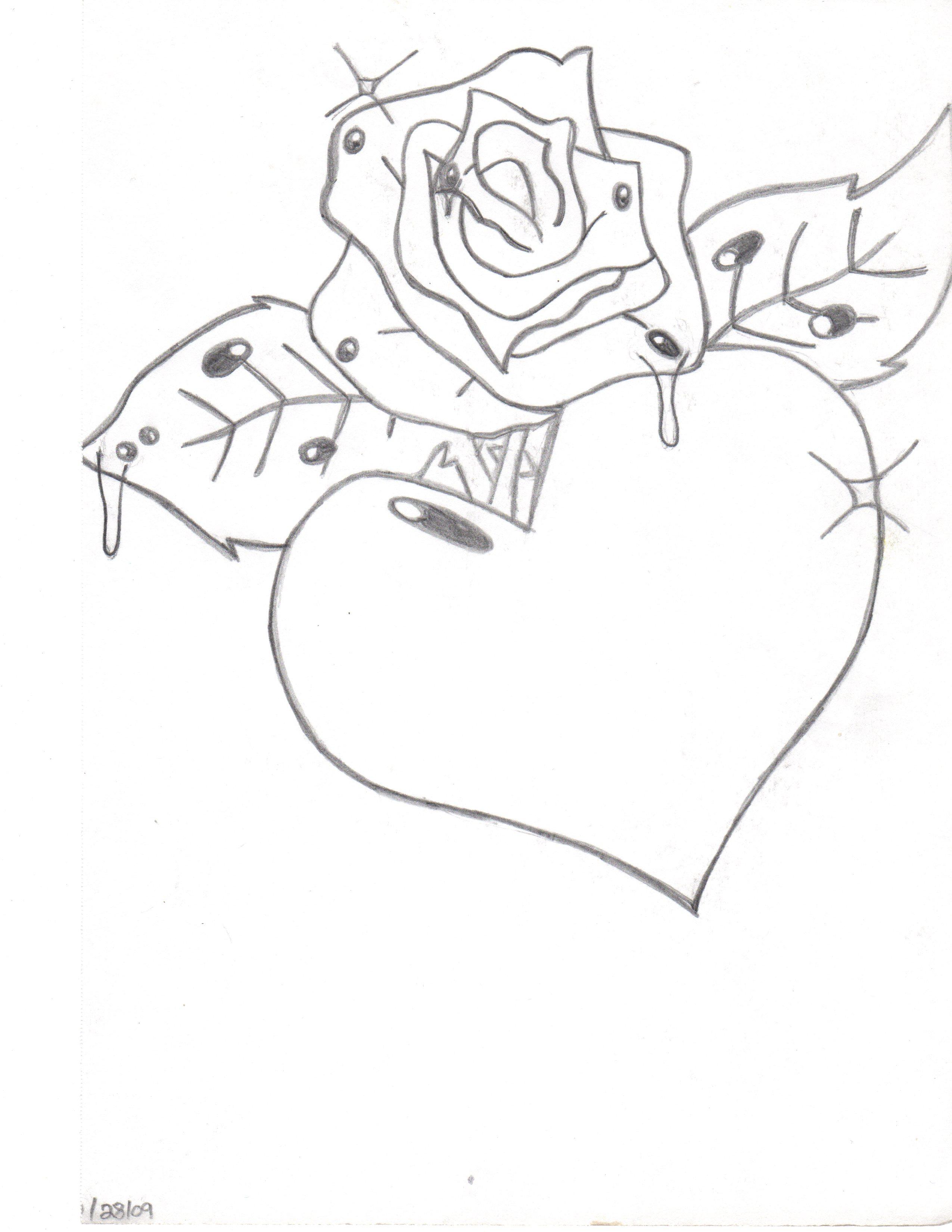 2550x3300 Graffiti Rose With Heart Drawing