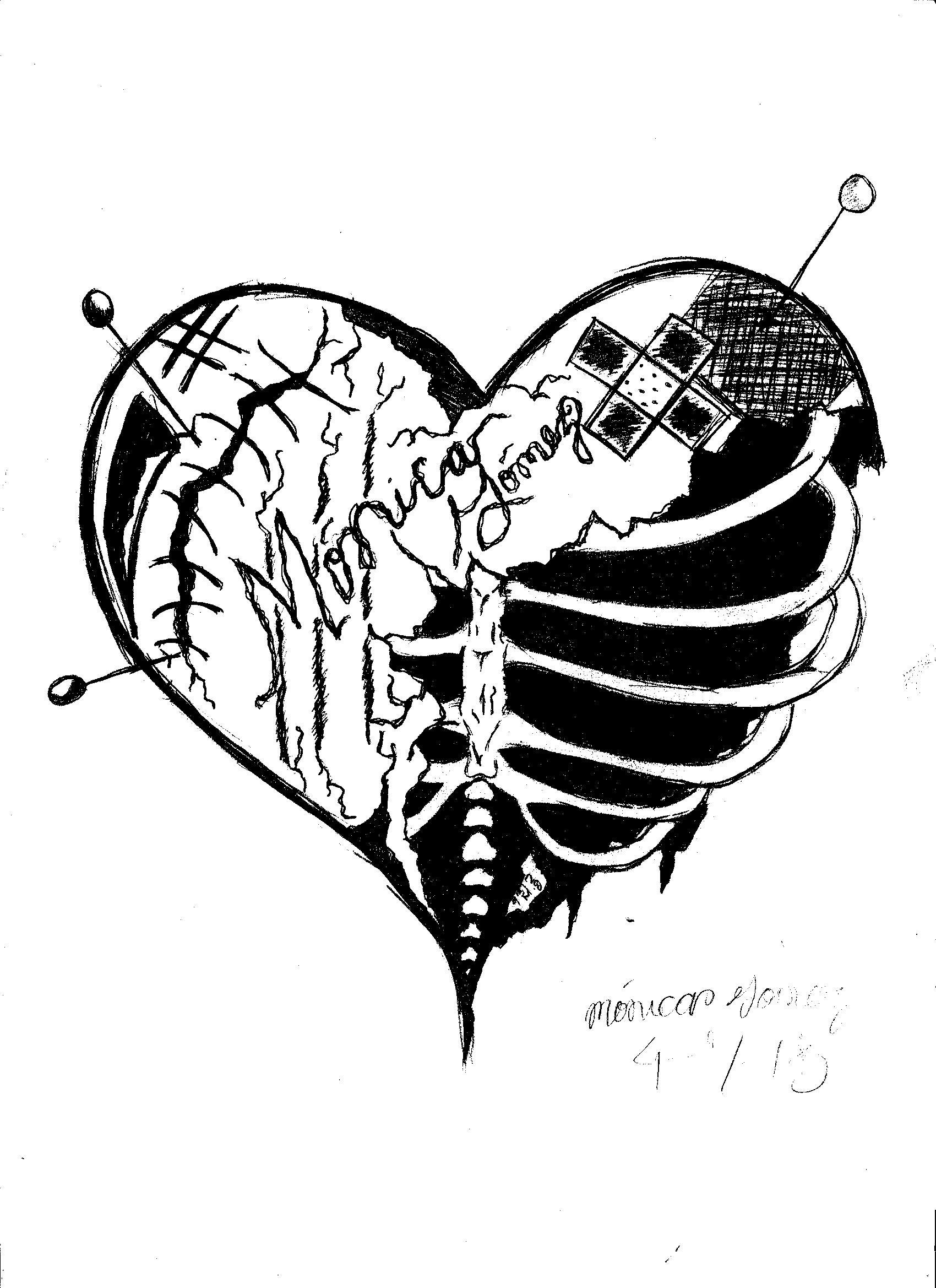 1700x2338 Graffiti Sketched Heart Broken Heart Artistic Imagination
