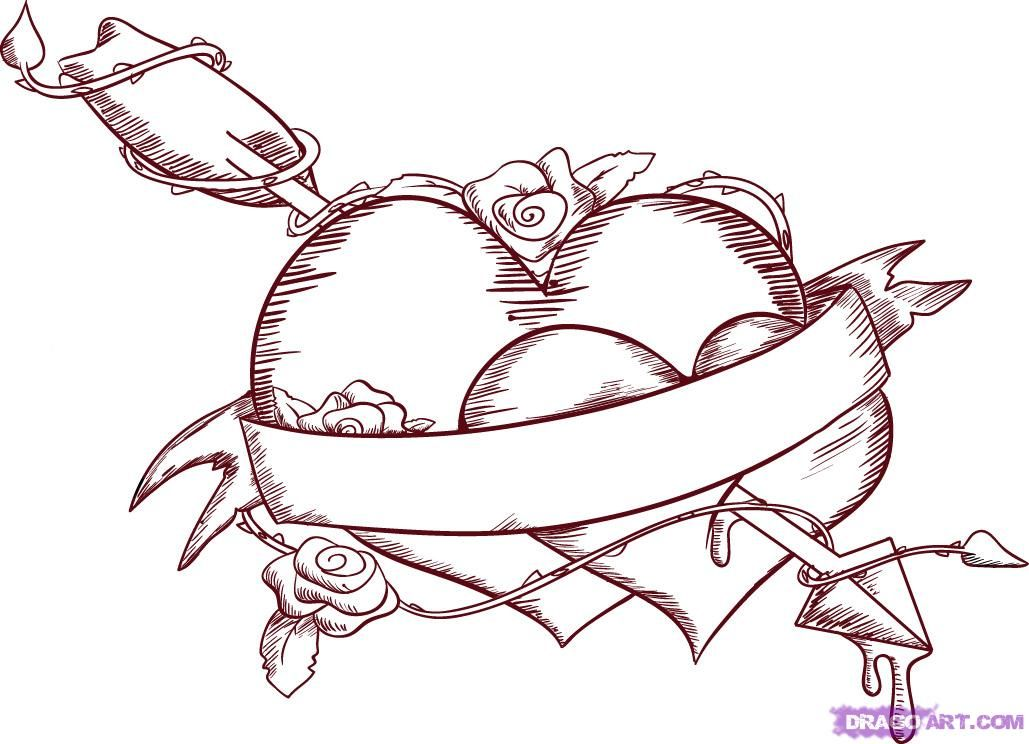 1029x744 Love Heart Drawings How To Draw Love Hearts Step 8 Color