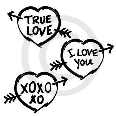 400x400 True Love Graffiti. Hearts And Kisses. File Download Vector