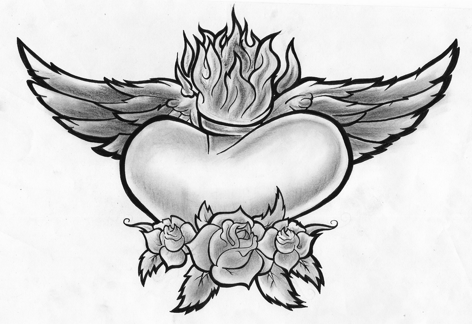 966x663 Heart Wings Roses By PorkHunt On DeviantArt